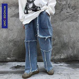 UNCLEDONJM Burr Прямые джинсы мужские Лоскутная Street Сыпучие Wide Leg Casual Все матча брюки Denim джинсы уничтожили AN-E058