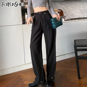 FORYUNSHES Women Suit Pant Beam Feet Pants Variable Hem Design Female Silver Side Stripe High Waist Straight Trousers 2020 Fall