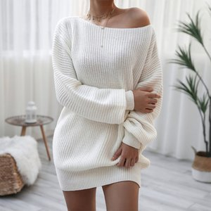 Off Shoulder Knitted Short Women's Sweater Dress Long Lantern Sleeve Loose Female Solid Dresses Autumn Elegant Ladies Clothes 201204
