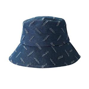 Korean Women Summer Vintage Denim Bucket Hat Distressed Scar Stripes Pattern Wide Brim Sun Protection Outdoor Fisherman Cap