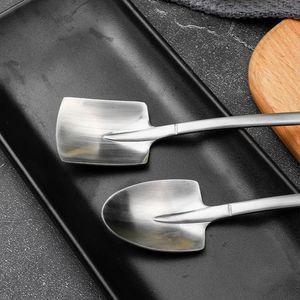 4pcs 304 Cuchara de café de acero inoxidable Cuchara retro Shovel Cuchara de hielo Cuchara de té creativo Moda Vajilla H Jllnol