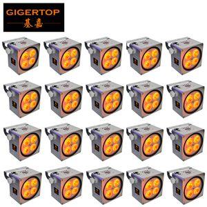 20X LOT Freeshipping 4x18W 6in1 luce par RGBAWAP Battery Power LED Flat, DMX Wireless Slim LED Par Can Per discoteca DJ Party, Club