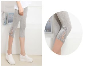 Hot Womens Crop 3 4 Length Leggings Clothes Capri Cropped Lace Summer Modal High Quality pants