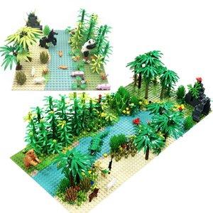 Yağmur Ormanı baseplate 1008 ile Taban Plakası Çocuk Noel Doğum Günü Hediyeler İl Yapı Taşları Uyumlu Bricks Bitkiler