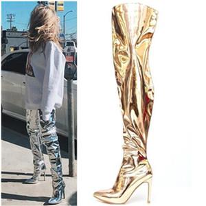 Sexy Scarpe a punta in pelle alta della coscia stivali per le donne di brevetto sopra il ginocchio Booties tacchi a spillo pompe Oro Argento lungo Booties