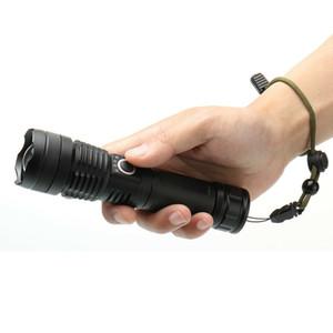 슈퍼 밝은 LED 전술 손전등 USB 충전식 LED 손전등 경고 안전 전기 토치 LED 자기 손전등