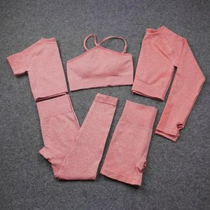 3 4 5PCS Seamless Woman's Yoga Set Workout Sportswear Gym Clothing Fitness Long Sleeve Crop Top High Waist Leggings Sports Suits