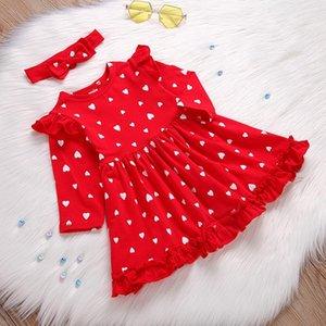 Toddler Baby Girls Dress Clothes Red Cloor Hearts Printing Ruffles Princess Dress Long Sleeve Tops Headbands Set vetement fille