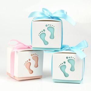 PATIMATE Footprint Candy Box Baby Shower Decoration 1st Birthday Party Decoration Babyshower Wedding Decor Baby Shower Boy Girl