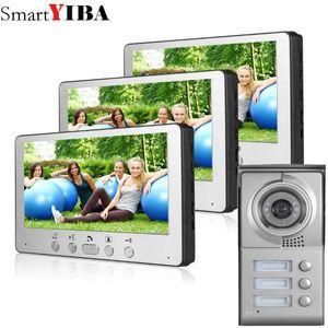 """Video-Door-Telefone Smartyiba 7 """"Farbwohnung Türklingel Türsprechanlage Intercom 1 Outdoor Camera + 3 Monitore für 3 Familie / Haus"""