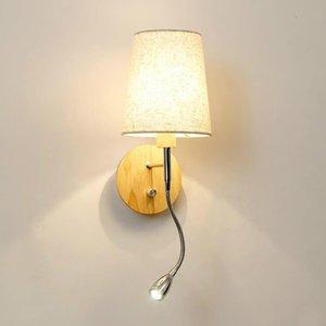 Nordic Holz Wandlampe mit Schalter Schlafzimmer Treppenlicht Stoff Holz Wandleuchten Leuchten LED Leuchte Wandlampe WF102404