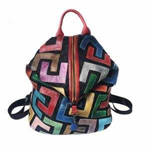 Patchwork Multi Color Natural Leather Backpack Women High Quality Soft Genuine Leather Casual Daily Knapsack Teenager School Bag gpz8#