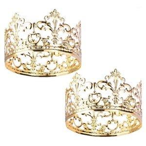 2 adet Altın Taç Kek Topper Zarif Prenses Taç Kek Topper Kraliçe Prens Ve Prenses Temalı Parties için Dekorasyon ...