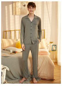 APPESHION 2 PCS MEN'S Knit Modal lapel long sleeve home wear pajamas set sleepwear
