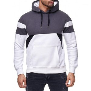 Mens Hoodies patchwork mens hooded sweatshirts black 2020 new long sleeve pocket sweatshirt men cotton casual style