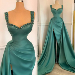 2021 Modest Green Prom Dresses Straps Beaded Side Slit Satin Overskirt Sweep Train Custom Made Evening Party Gowns vestido de noche