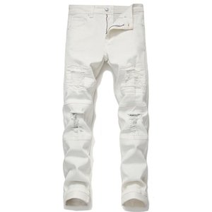 Fall winter Ripped Jeans Patch Distressed Micro Stretch White Casual Pants Pencil Male Youth Fashion Streetwear Pants
