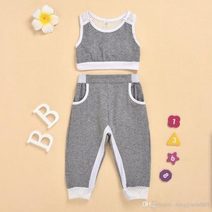 Summer Toddler Girls Clothes Sets Gray Sports Vest Tank Tops+Long Pants Outfits Set Tracksuit Children Clothing Kids Girls Clothes Sets