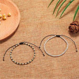 New Arrival Handmade Wax Rope Braided Beads Bracelet for Women Men Size 17cm&19cm Adjustable Charm Couple Bracelet Jewelry Gift-Y .