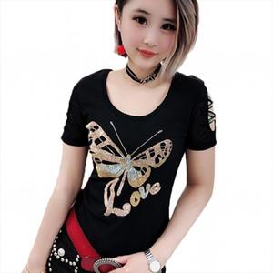 Diamonds Butterfly Tshirt 2020 New Spring Summer Women O Neck Hollow Out Short Sleeve Top Shirt Clothes Streetwear Black T93706