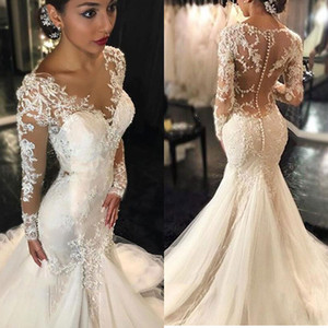 Mermaid Wedding Dresses Long Sleeves Lace Appliques Beaded Wedding Gowns Sweep Train Jewel Bridal Gowns