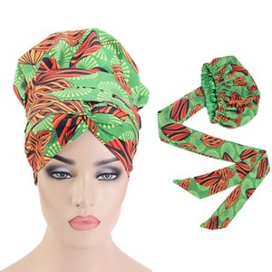Frauen Doppelschicht Headwrap Ankara Hat Hijab Head Cover Große Haarwrappkappe Afrikanische Druck Satin Motorhaube mit langem Ribbon Wrap LJ200921