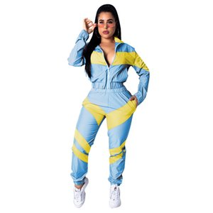Panelled Designer Womens Tracksuits Casual Cardigan Sports Two Piece Set Fashion Lepal Neck Two Piece Pants