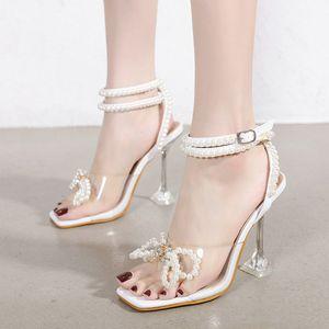 Women's Sandals 2021 Sexy transparent heels PVC Cozy Summer Shoes Woman Thin Clear Heels Solid Wedding Sandal Girls Non-slip C0202