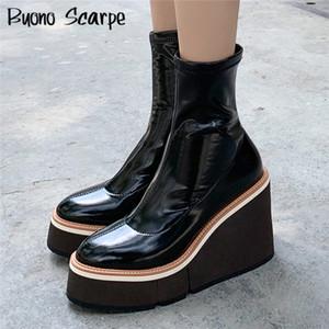 Beiläufige Frauen Plateau Stiefel Keilabsatz starke untere Stiefeletten Frauen-Socken-Boots-Plattform-Schuhe elastische Damen Short Booties