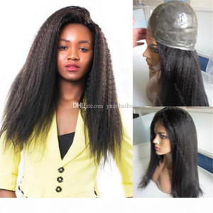 Silicone Base Human Hair Wig 1B Kinky Straight Indian Virgin Hair Full Thin Skin Wig Free Shipping