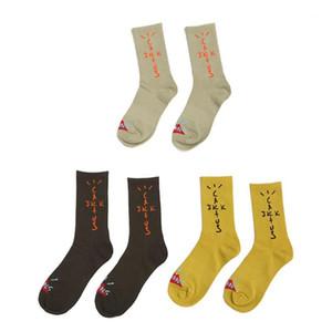 남성 양말 트래비스 스콧 요새 밤 스케이트 보드 패션 남성 편지 인쇄 양말 스포츠 양말 Sockings 엉덩이 Hop1