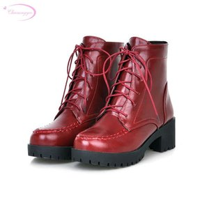 Chainingyee restaurando maneiras antigas botas de tornozelo de outono lace up plataforma de medotícula vermelha amarela de calcanhar preto
