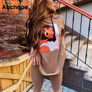 Aachoae Printed Casual Hooded Women's Two Piece Batwing Sleeve Loose Sports Home Set Fashion Comfortable Suit Summer Wear 201022