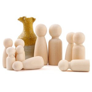 5Pcs 65Mm Peg Maple Wedding Home Decor Diy Unpainted Family Wooden Dolls Montessori Toys Baby Beating