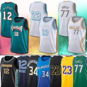 34 Giannis 23 LBJ Antetokounmpo 77 Luka 12 Ja Doncic Morant 2021 camisas de basquete