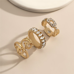 10Sets Lot European Dragon Rhinestone Ring Set Fashion Geometric Hollow Ellipse Rings Women Three Pieces Hand Finger Jewelry Accessories