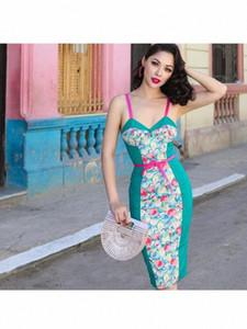 Le Palais Vintage Robe sexy élégant moulante Womans Vêtements Longueur genou Spaghetti Strap Empire Rouge Womans Robe Imprimer 43DN #