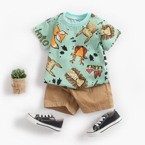 2021 Baby Boy Clothing Set Cute Summer T-Shirt Cartoon Children Boys Outwear Shorts Suit for Kids Outfit Denim Outfit 1 2 3 Year Q0109