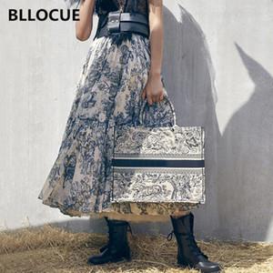 BLLOCUE 2019 piste femmes de luxe totem tok forêt animal imprimé coton haute taille plissée jupe élégante jupes longues ly191203