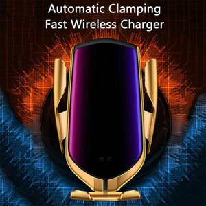 Nouveau R1 R2 automatique 10W voiture sans fil de serrage Chargeur pour iPhone Xs Huawei LG infrarouge induction Qi chargeur sans fil Support de téléphone de voiture