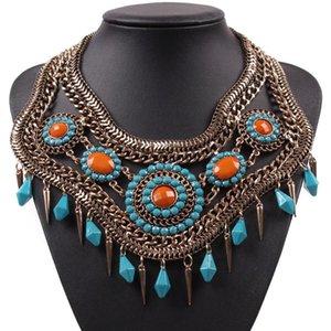 Collar New Brand Design Vintage Moda Chunky Choker metal Cadeia pingente antigo Colar apelativo para Mulheres