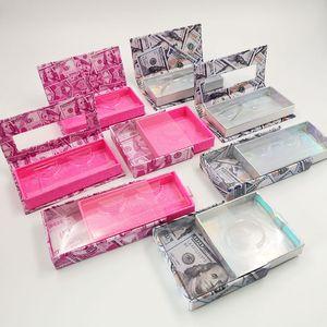 10 pack Eyelash Packaging Box Lash Boxes Packaging Faux Mink Lashes Square Round Empty Case Bulk