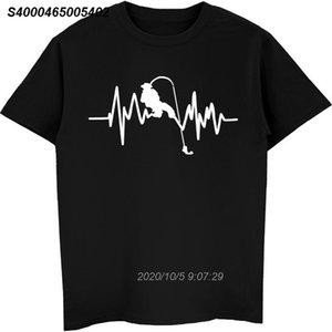 Pescatore Pesce T shirt Funny Fish Heartbeat T-shirt Cool Summer Men Stampa O-Collo in cotone manica corta T Shirt Raffreddare Top 4.416.510