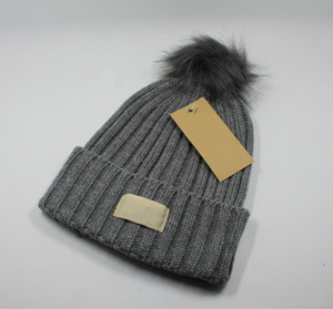 high quality New Fashion Women Winter Hats gift Solid Knitted Beanies Caps Hair Ball Thick Winter Warm Hat