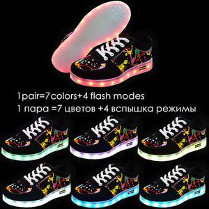 25-44 Graffiti levou Shoes Chinelos de incandescência Luminous Sneakers 7ipupas cestas Luz Sole Basket Femme Crianças Tenis Masculino Feminino