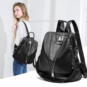 Fábrica designer saco zipper lichi couro mochila escola faculdade mochila fone de ouvido jack mochila vintage mulheres moda mochila viagem saco de viagem