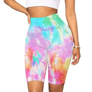 Newest Arrival Women Mid Thigh Stretch Short Leggings High Waist Colorful Tie Dye Yoga Bicycle Capri Shorts Sweatpants Outfits 35