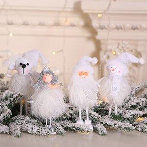 Christmas Ornament Silver Silk Plush Toy Standing Posture White Santa Claus Snowman Princess Doll Window Snowman Xmas Decoration NWD2580
