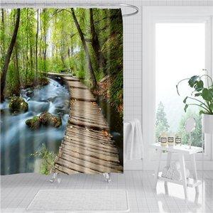 Baño lavable Cortina de ducha Tela de poliéster Cortinas de baño decorativas para el hogar Forest Río Paisaje Pantalla DW1861