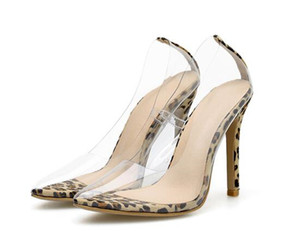 Net PVC Şeffaf Sandalet Perspex Heel Stilettos Yüksek Topuklar Nokta Toes pompaları Bayan Parti Ayakkabı Gece Kulübü Pompası 35-42